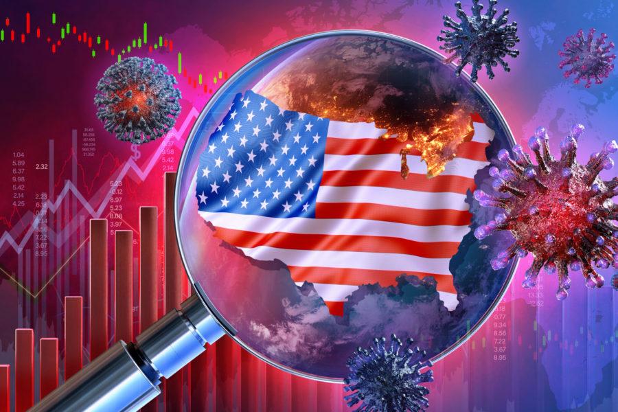 Coronavirus SARS-CoV-2 pandemic United States economy impact. USA economy 3D background: covid-19 ncov corona virus, american flag, downtrend charts, display of daily stock exchange market price data