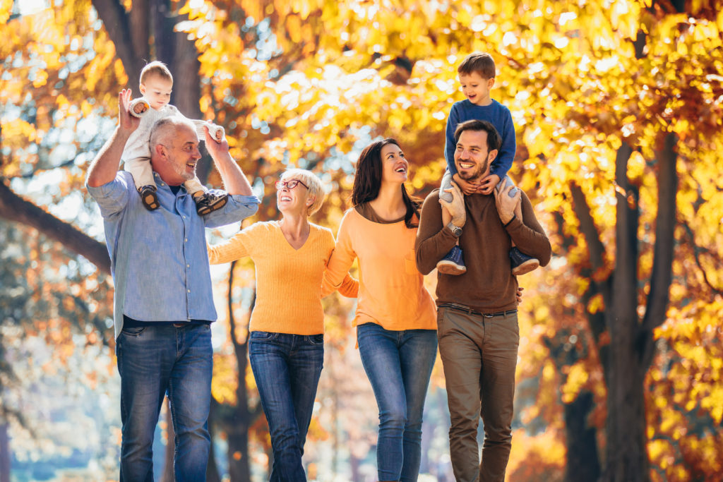 family outdoors covid